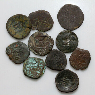 Lot Of 10 Uncertain Spain Spanish Pirates Bronze Coins