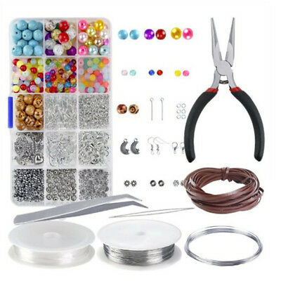 Large Jewelery Making Kit Starter Tool Pliers Set Silver Beads Findings Threa %D