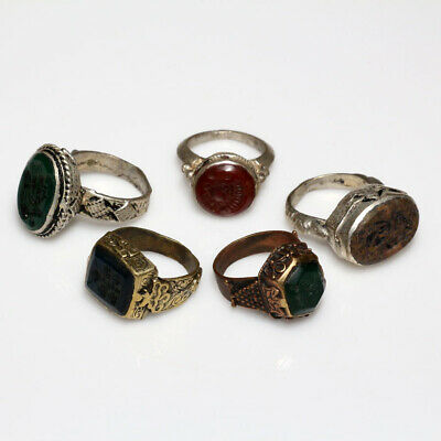 Lot Of 5 Near East Late Medieval Bronze & Silver Plated Seal Rings