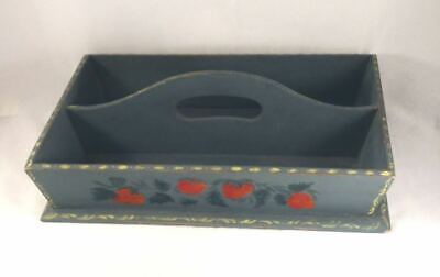Old Hand Painted Two-compartment Wood Cutlery Tray Strawberries on Blue Ground