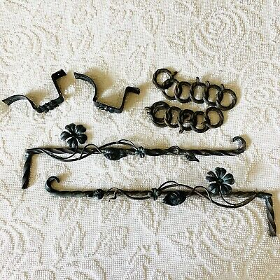 Pair Vintage Wrought Iron Curtain Rods HANDMADE Floral Flowers Vines 1930's