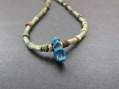 NILE Ancient Egyptian Cat Amulet Mummy Bead Necklace ca 1000 BC