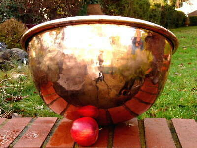 HUGE FRENCH COPPER ANTIQUE 19th century KITCHEN MIXING BOWL