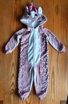 Girls Reindeer Christmas Soft Fleece All In One 3-4 Years,  Great condition Pink