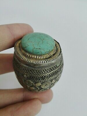 Vintage Afghan Ring Turquoise Antique Stone Islamic Nomadic Carving Intaglio Old