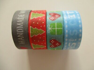 4 Reels Dovecraft Washi Tape - Trees  Hearts  Handmade with Love  It's Christmas