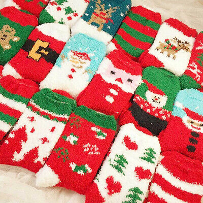 Mens Women Christmas Socks Fluffy Soft Warm Winter Xmas Ladies Girls Stocking