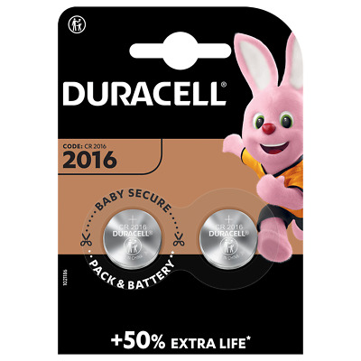 2x CR2016 Duracell 3V Lithiium coin cell battery (2 pack)
