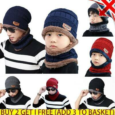 Men Boys Winter Beanie Hat+Scarf Loop Set Warm Knit Thermal Fleece Lined Caps UK