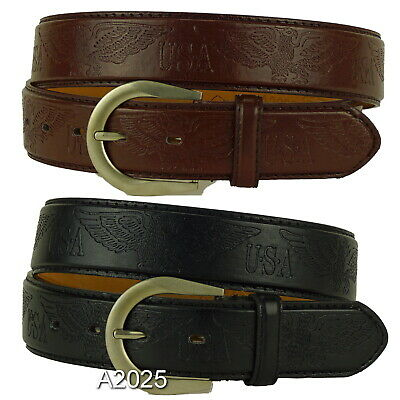 Men's USA Eagle Quality Jeans Belts With Buckle Causal Black Brown M L XL