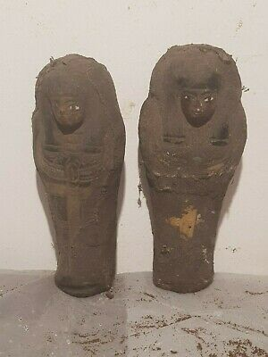 Rare Antique Ancient Egyptian 2 Ushabti Servant Minions dead mummy 1760-1680BC