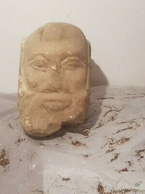Rare Antique Ancient Roman God Head Egyptian Alabaster Heavy 78-30BC