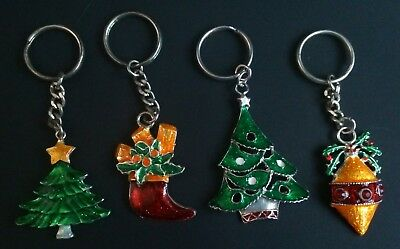 4 New Christmas Metal Cast Keyrings Enamelled 2 Trees Bauble- Stocking Incrakers