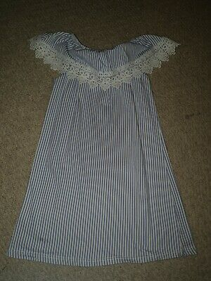 Next Girls Blue And White Stripe Dress Age 4-5 Years