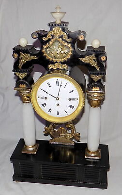 c1835 VIENNESE BIEDERMEIER GRANDE SONNERIE CLOCK - FULLY WORKING PORTICO CLOCK
