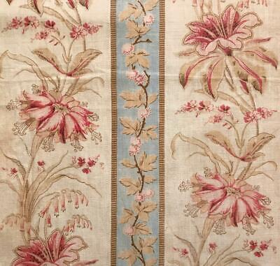 BEAUTIFUL 19th CENTURY FRENCH FINE LINEN COTTON INDIENNE, PASTELS 484