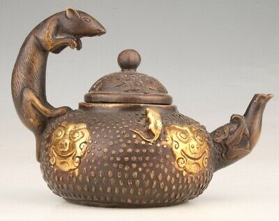 Unique China Gilt Red Copper Teapot Kettle Mouse Old Collection Gift