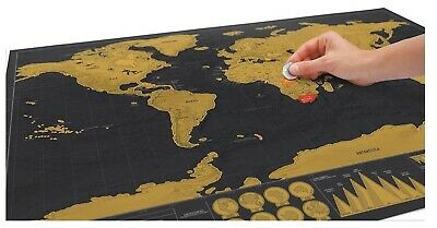 LARGE Scratch Off World Map Deluxe Edition Wall Poster 42 * 30cm / 16.5 * 11.8in