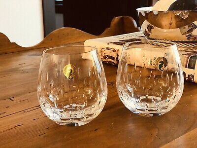 Set of 2 Waterford ENIS Stemless Crystal Red Wine Glasses