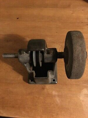 Vintage Cast Iron Benchtop Belt Driven Grinder Arbor