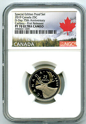 2019 Canada 25 Cent Special D-Day Proof Ngc Pf70 Ucam Quarter First Releases