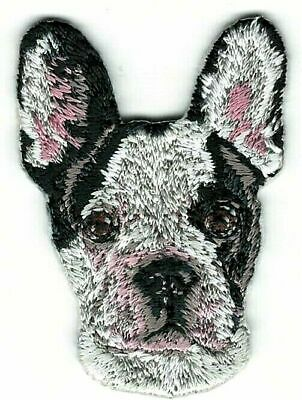 """2"""" x 1 1/2"""" Black White French Bulldog Dog Breed Embroidery Patch"""