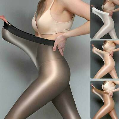 Seamless Women Pantyhose Stocking Oil Glossy Shiny Sheer Tights Crotch Crotchles