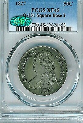 1827 Square Base 2 Capped Bust Half Dollar : PCGS XF45 CAC Overton O-131
