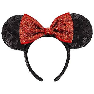 Disney Parks AUTHENTIC Minnie Mouse Black Sequins Ears Red Bow Headband - NEW