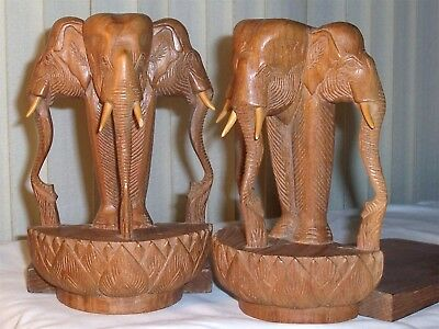 Vintage Bookends Unusual Master Carved Asian Elephants, 6 Elephants