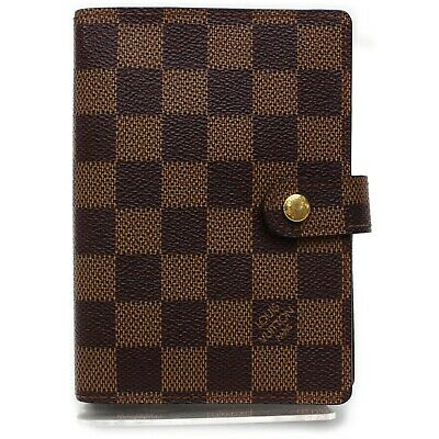 Authentic Louis Vuitton Diary Cover Agenda PM Browns Damier 900810