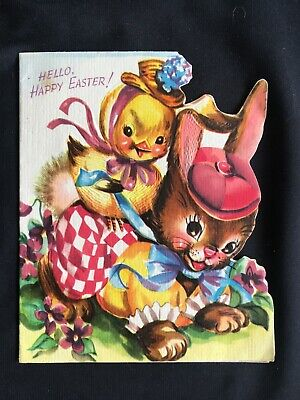 Vintage Collectable Greeting Card - Easter Bunny & Chick - c1950s