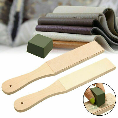 Dual Sided Leather Blade Strop Tool Razor Sharpener Polishing Compounds Kit Tool