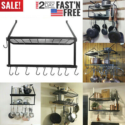 2 Tire Pot Rack Wall Mounted Pan Kitchen Shelf Hanging Racks +10 Hooks US Stock