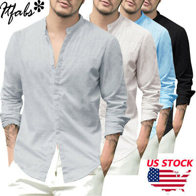 Summer Men's Linen Long Sleeve Shirt Cool Loose Casual V-Neck Shirts Tops M-3XL