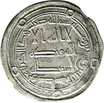 CERTIFIED, Umayyad Silver Dirham, year 129 Wasit Authentic Medieval Islamic Coin