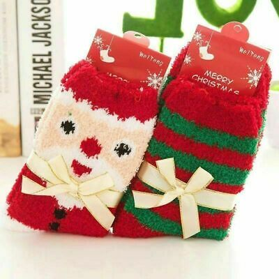 4 Pairs Ladies Soft Fluffy Lounge Cosy Bed Socks Winter Warm Christmas Gift Bags