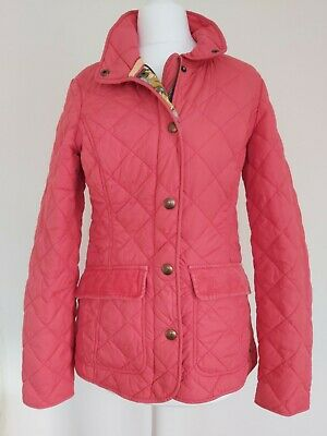 Joules Moredale Ladies Quilted Jacket Padded Coat Magenta Pink 8 Floral lining