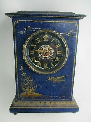 Antique French Mantle Clock S Marti et Cie w/Painted Porcelain Face - To Restore