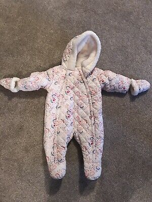 Boots Mini Club Baby Girl Snowsuit 0-3 Months Fleece Lined Detachable Mitts