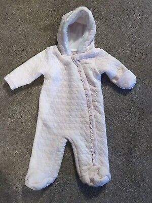 Pale Pink Tu Snowsuit 0-3 Months Fleece Lined Heart Stitch Detail Baby Girl