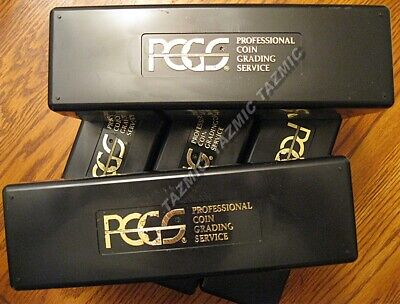 5 Black PCGS Storage Boxes Each Holds 20 Coins