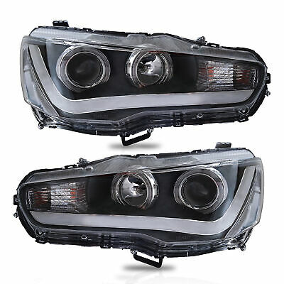 Halo LED Projector Headlights w/ DRL Single Beam for 2008-2017 Mitsubishi Lancer