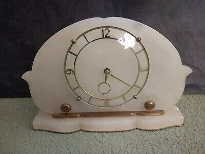 Art Deco 1920's / 1930's MANTEL PIECE CLOCK - Heavy White Onyx Marble