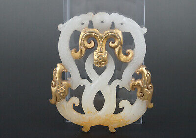 One Fine Chinese Ancient Han Jade Carving Dragon Pendants 0051