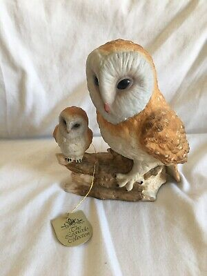 The Leonardo Collection Figurine Owl & Baby Owl On Branch Porcelain
