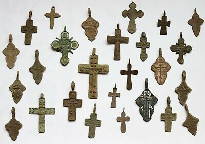 Job Lot Of 26 Authentic Medieval Bronze Crosses