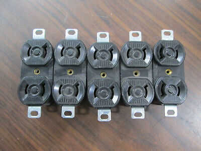 Lot of 5 Hubbell HBL7540 Brown Duplex Receptacles (15 Amp, 125 Volt, 2 Wire)