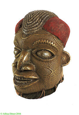 Bamun Helmet Mask Brass and Copper Cameroon African Art SALE WAS $490.00