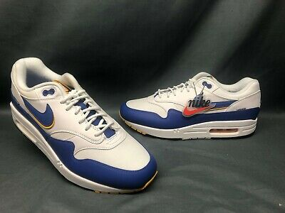 Nike Men's Air Max 1 SE Running Sneakers White Blue Yellow Size 9 DISPLAY MODEL!